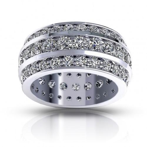 5.00 ct Ladies Three Row Round Cut Diamond Eternity Wedding Band Ring