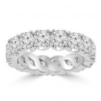 4.00 ct Ladies Round Cut Diamond Eternity Wedding Band Ring 14 kt White Gold