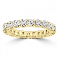 2.21 ct Ladies Round Cut Diamond Eternity Wedding Band in Yellow Gold