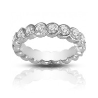 2.00 ct Round Cut Diamond Eternity Wedding Band Ring In Bezel Setting