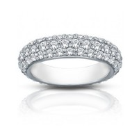 3.50 ct Ladies Three Row Diamond Eternity Wedding Band Ring