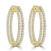 5.26 ct ttw Ladies Round Cut Diamond Inside Outside Hoop Earrings In yellow Gold