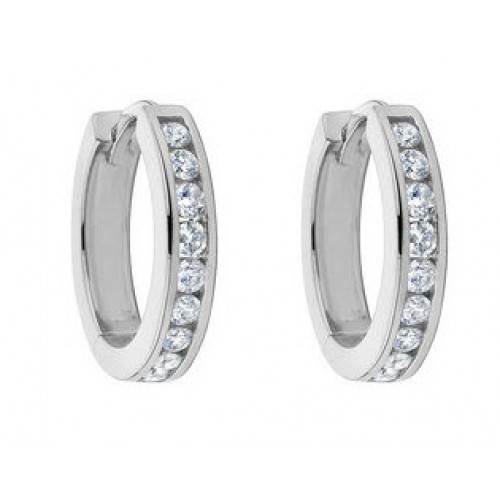 1.00 ct Ladies Round Cut Diamond Hoop Huggie Earrings