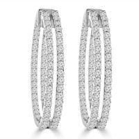 5.26 ct ttw Ladies Round Cut Diamond Inside Outside Hoop Earrings