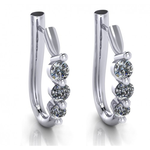 1.10 ct Ladies Round Cut Diamond Hoop Huggie Earrings
