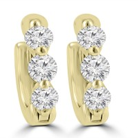 1.20 ct ttw Ladies Round Cut Diamond Hoop Huggie Earrings In 14 Kt Yellow Gold