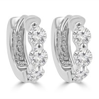 1.20 ct ttw Ladies Round Cut Diamond Hoop Huggie Earrings In 14 Kt White Gold