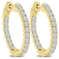 2.10 ct Ladies Round Cut Diamond Hoop Huggie Earrings in Yellow Gold