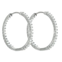 3.25 ct Round Cut Diamod Inside Outside Hoop Earrings