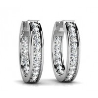 2.50 Ct Ladies RoundCut Diamond Hoop Huggie Earrings