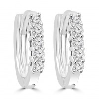 0.25 ct Ladies Round Cut Diamond Hoop Huggie Earrings In 14 Kt White Gold