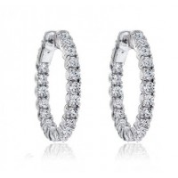 1.50 ct Ladies Round Cut Diamond Hoop Huggie Earrings