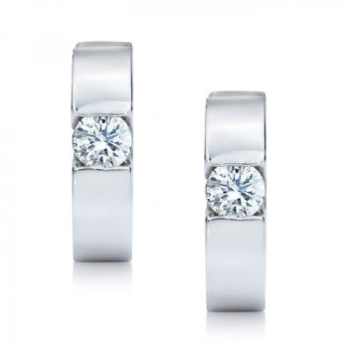 0.50 ct Ladies Round Cut Diamond Hoop Earrings in 14 kt White Gold