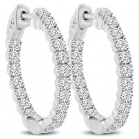 2.10 ct Ladies Round Cut Diamond Hoop Huggie Earrings