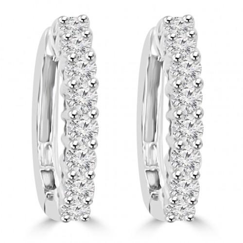 0.85 ct Ladies Round Cut Diamond Hoop Huggie Earrings