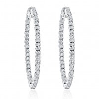 4.00 ct Round Cut Diamod Inside Outside Hoop Earrings