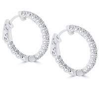 1.25 ct Ladies Round Cut Diamond Hoop Huggie Earrings In 14 Kt White Gold