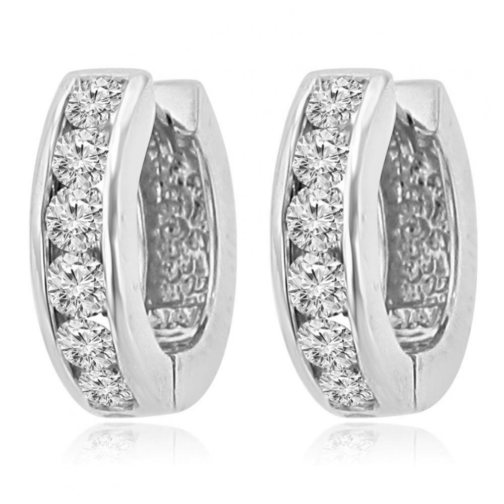 1 20 Ct Ladies Round Cut Diamond Hoop Huggie Earrings In