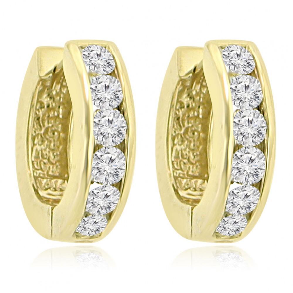 120 Ct Ladies Round Cut Diamond Hoop Huggie Earrings In 14 Kt Yellow Gold