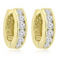 1.20 ct Ladies Round Cut Diamond Hoop Huggie Earrings In 14 Kt Yellow Gold