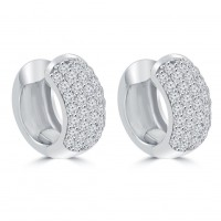 1.80 ct Round Cut Diamond Huggie Earrings In 14 kt White Gold