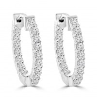 1.90 ct Ladies Round Cut Diamond Hoop Huggie Earrings In 14 Kt White Gold