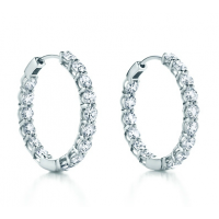 4.00 ct ttw Ladies Round Cut Diamond Inside Outside Hoop Earrings