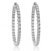 2.50 Ct Ladies Round Cut Diamond Inside Outside Hoop Earrings