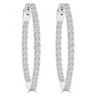 1.65 ct Ladies Round Cut Diamond Hoop Earrings In 14 Kt White Gold
