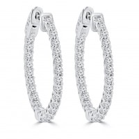 1.45 ct Ladies Round Cut Diamond Hoop Earrings In 14 Kt White Gold