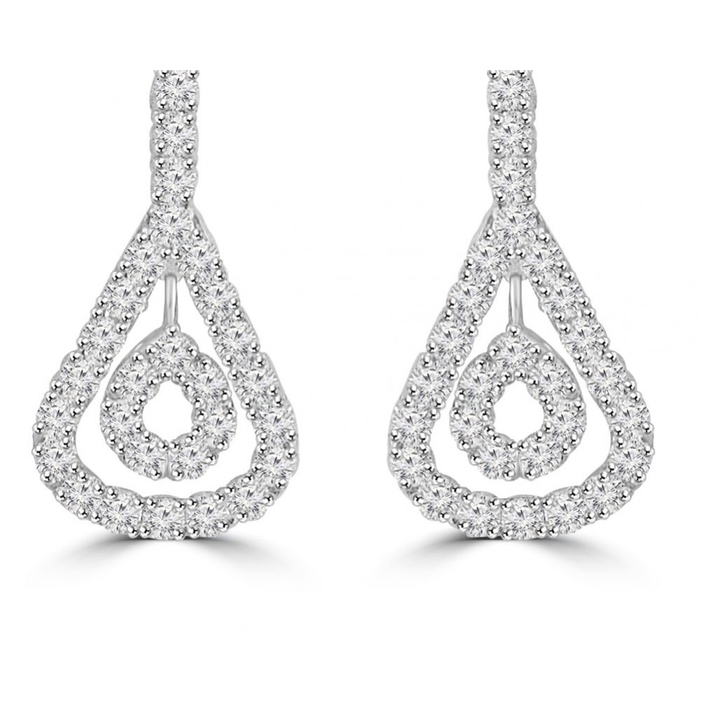2 76 Ct Ladies Round Cut Diamond Drop Chandelier Earrings