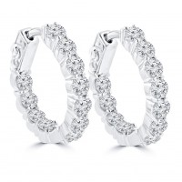 2.50 ct Ladies Round Cut Diamond Hoop Huggie Earrings In 14 Kt White Gold