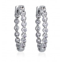 2.00 ct Ladies Round Cut Diamond Hoop Huggie Earrings