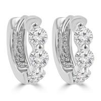 1.20 ct ttw Ladies Round Cut Diamond Hoop Huggie Earrings In 14 Kt White Gold