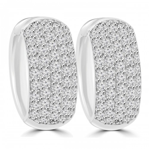1.25 ct Ladies Round Cut Diamond Huggie Earrings In 14 Kt White Gold