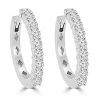1.46 ct Ladies Outside Round Cut Diamond Hoop Huggie Earrings