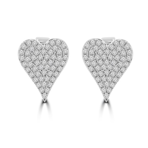 0.25 Ct Heart Shaped Diamond Stud Earrings in 14k White Gold