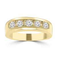 1.00 Men's Round Cut Diamond Wedding Band in 14 kt Yellow Gold