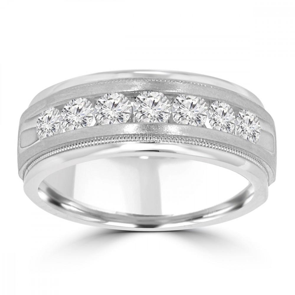 Round Bands: 0.70 Ct Men's Round Cut Diamond Wedding Band Ring In