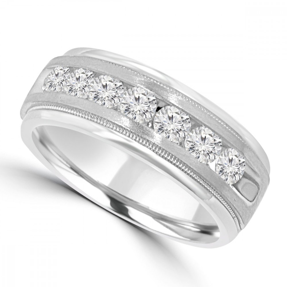 070 ct mens round cut diamond wedding band ring in channel setting - Diamond Wedding Rings For Men