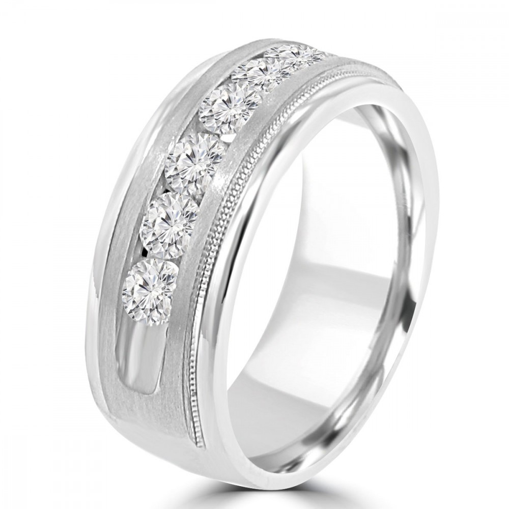 0 70 Ct Men S Round Cut Diamond Wedding Band Ring In Channel Setting