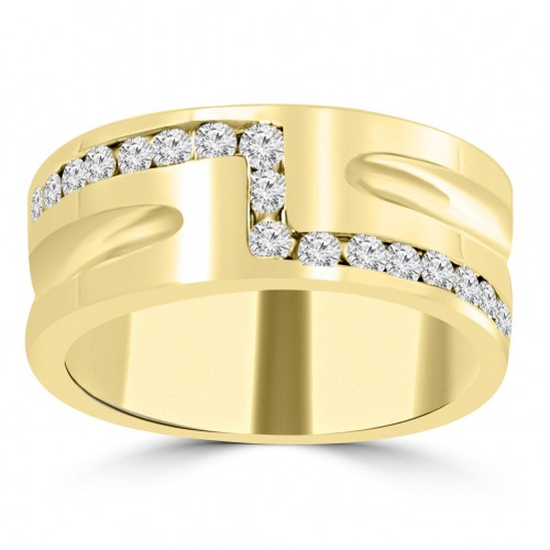 0.65 ct Men's Round Cut Diamond Wedding Band in Yellow Gold  Channel Setting