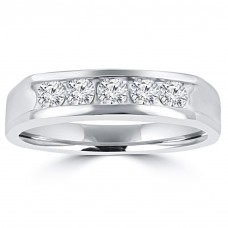 0.50 ct Men's Round Cut Diamond Wedding Band in 14 kt White Gold
