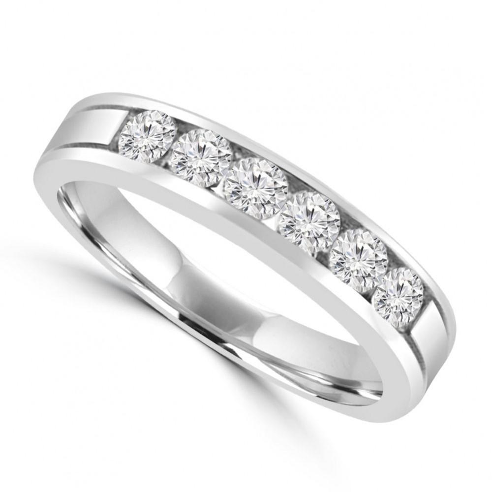 095 Ct Mens Round Cut Diamond Wedding Band In 14 Kt White Gold