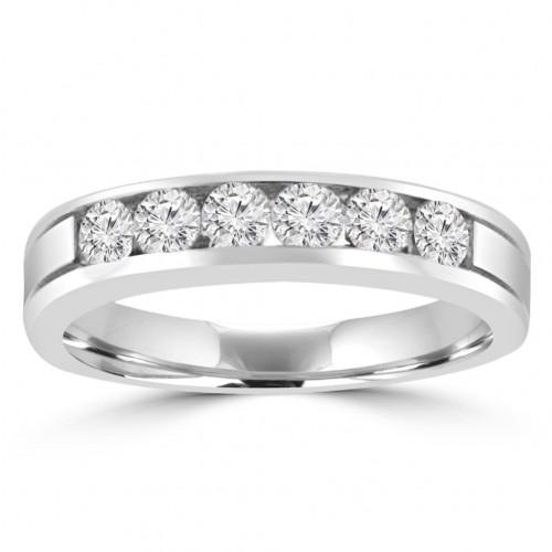 0.95 ct Men's Round Cut Diamond Wedding Band in 14 kt White Gold