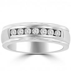 0.40 ct Ladie's Round Cut Diamond Wedding Band in 14 kt White Gold