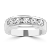1.00 Men's Round Cut Diamond Wedding Band in 14 kt White Gold