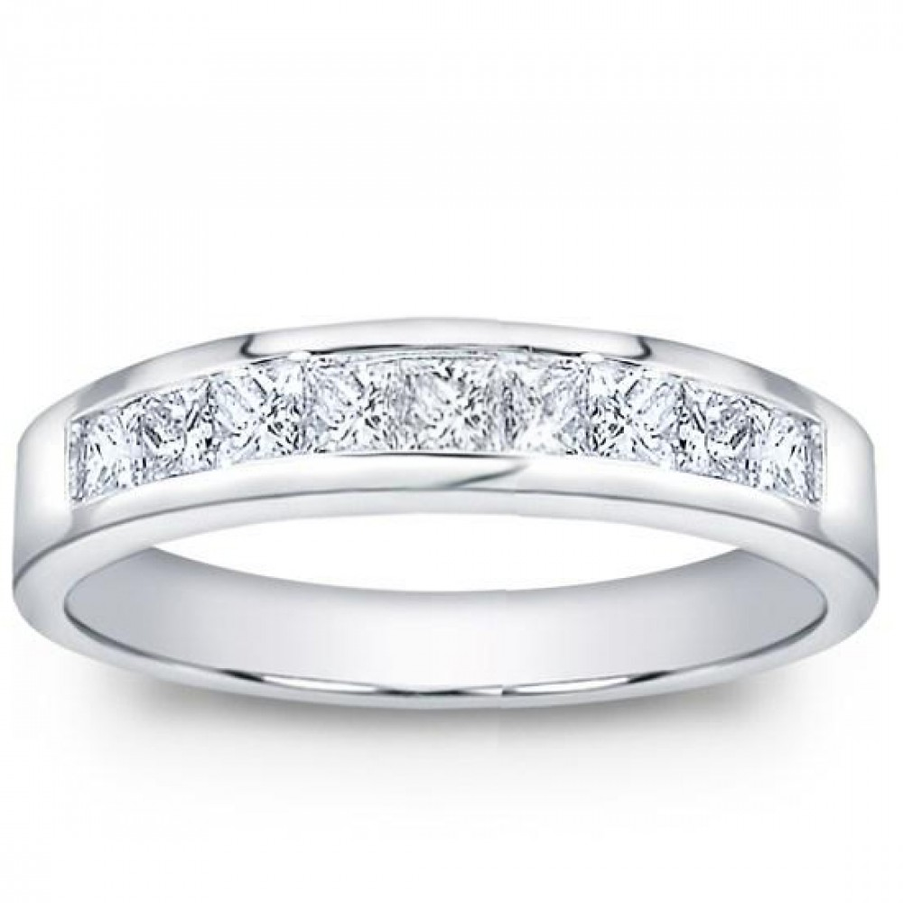100 ct Mens Princess Cut Diamond Wedding Band Ring In Channel
