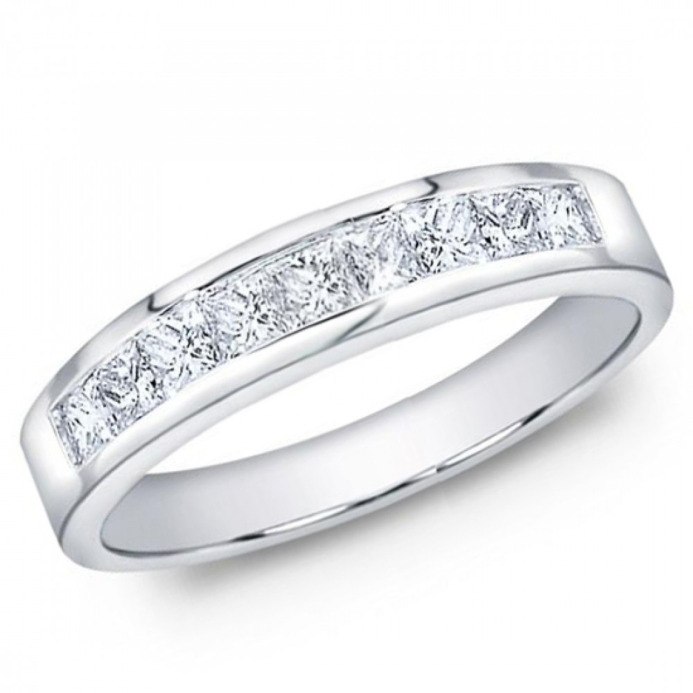 ct Mens Princess Cut Diamond Wedding Band Ring In Channel Setting