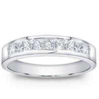1.00 ct Men's Princess Cut Diamond Wedding Band Ring In Channel Setting